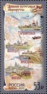 2020-2584 Russia 1v EUROPA CEPT Ancient Postal Routes .Ships/ Horses/ Map  MNH - 1992-.... Federación