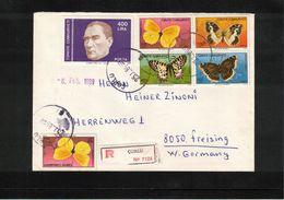 Turkey 1989 Butterflies Interesting Registered Letter - Farfalle