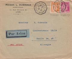 LETTRE. 28 10 37. 2,75 Fr. PAIX. PAR AVION LYON POUR BERLIN ALLEMAGNE - Marcophilie (Lettres)