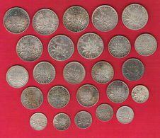FRANCE Monnaies Lot De 25 Pièces Semeuse Argent 0.50x6  1francx11  Et 2 Francsx8 - Francia