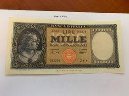 Italy Medusa Testina 1000 Lira Banknote 1947   #9 - 1000 Lire