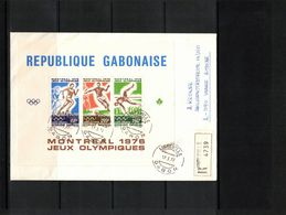 Gabon 1976 Olympic Games Montreal Block Interesting Registered Letter - Verano 1976: Montréal