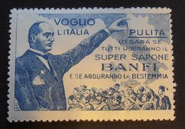 """Erinnofilia - Chiudilettera """"Super Sapone Banfi"""" - Mussolini - Difetti - Poststempel"""
