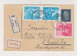 YUGOSLAVIA 1951 ZAGREB Registered Priority Postal Stationery - 1945-1992 Socialist Federal Republic Of Yugoslavia