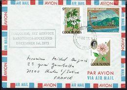 "Cook Islands - Enveloppe Premier Vol ""Inaugural Jet Service Rarotonga-Auckland 1 Décembre 73"" TB - - Cocos (Keeling) Islands"