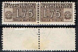 ITALIA - 1953 - CIFRA SULLE DUE SEZIONI - FILIGRANA RUOTA - VALORE DA 75 LIRE (BRUNO) - SENZA GOMMA - Pacchi In Concessione