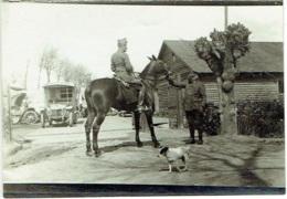 Foto/Photo. Militaria. Camion, Cavalier, Militaire Et Chien. A Situer - Guerra, Militares