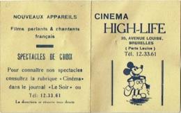 Cinéma High-Life, Bruxelles, Av. Louise. Carte De Faveur Illustrée D'un Mickey. - Tickets D'entrée