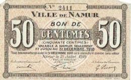 Billet. Namur. Bon De 50 Centimes, Valable à Namur Seulement Jusqu'au 31/12/1918. - Sin Clasificación