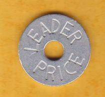 Jeton De Caddie En Métal - Leader Price - Supermarché - Grande Surface - Aluminium Gravé - Jetons De Caddies