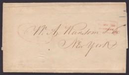 """""""Lyon"""", Brief Mit Schwachen Stempeln Nach New York, Mit Inhalt, 1845 - 1849-1850 Ceres"""