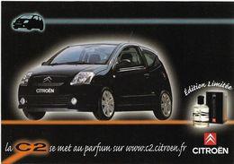 CITROËN C2 Et C4 - LOT DE 4 Cart'Com Pub.  - Pour La C2 Edition Limitée Du Parfum D'Ambiance - (Voir Scan) - Passenger Cars