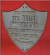 PLAQUE FUNERAIRE IRMA RENARD NEE PEIGNE EN 1868 DECEDEE LE 3 FEVRIER 1910 DE PROFUNDIS TOMBE ENTERREMENT CIMETIERE - Oggetti 'Ricordo Di'
