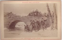 Photos Originale Ancienne Ad. Braun & Cie Militaires Infanterie La Défense D'un Pont De Berne-bellecour 1870 Ref 739 - War, Military