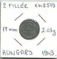 G8 Hungary 2 Filler 1943. KM#519 - Hongrie