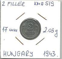 G9 Hungary 2 Filler 1943. KM#519 - Hongrie