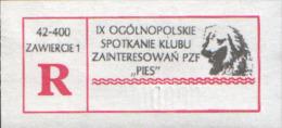 POLAND, Zawiercie 2000, Rare Specimen Special Registered Label: 9 Meeting Of Philatelists DOG Club (hund) - Chiens