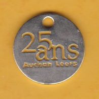 Jeton De Caddie En Métal - Auchan Leers (59) - 25 Ans - Supermarché - Grande Surface - Jetons De Caddies