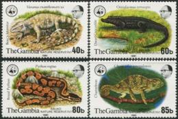 GAMBIA 1981 WWF Reptiles Crocodile Chameleon Snake Snakes Animals Fauna MNH - W.W.F.