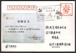 CHINA Donation Certificate(Pharmacy's Masks,alcohol,disinfectant To Linyi University Education Development Foundation) - Enfermedades