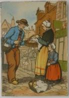 BRETAGNE / Région De AUDIERNE - Femme Et Enfant Avec Panier - Illustrateur E. BLANCHE - Audierne