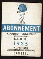 Exposition Universelle Bruxelles / Wereldtentoonstelling Brussel 1935 Abonnement - Enfant - Jeanne MERTEN - 2 Scans - Tickets - Vouchers