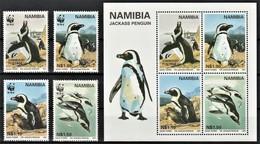 1997 Namibia WWF Jackass Penguin Set And Minisheet (** / MNH / UMM) - Pingouins & Manchots