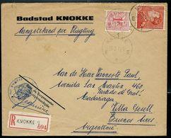 Doc. De KNOKKE  - E 1 E - Du 27/07/62 Pour L'Argentine (poortman) En Rec.  (E) - Marcophilie
