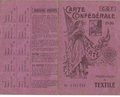 VIEUX  PAPIERS  De  La FEDERATION Du TEXTILE - Carte CGT De 1939 D'ARMENTIERES (59) - Vecchi Documenti