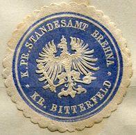 Siegelmarke - K.Pr.Standesamt BREHNA, Kr. BITTERFELD - Vecchi Documenti