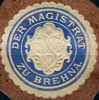 Siegelmarke - Der Magistrat Zu BREHNA (Kreis BITTERFELD), Blau - Vecchi Documenti