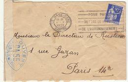 ESC 90c Paix OMEC Le Mans Gare, Censure Bleu DA 55 Le Mans 1939 - Marcophilie (Lettres)