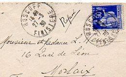 C10   1939 Lettre Roscoff  Morlaix  Mention Refusé - Marcophilie (Lettres)