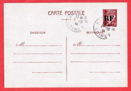 ENTIER PETAIN SURCHARGE RF LIBERATION ORLEANS LOIRET 2.10.1944 - Libération