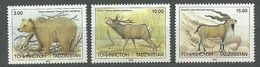 Tajikistan, 1993 (#22-24a), Endangered Mammals, Animals, Fauna, Himalayan Bear, Bactrian Deer, Bukharan Goat - 3v - Timbres