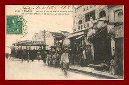 --TONKIN HANOI SCENE DE LA RUE AU COIN DE LA PLACE NEGRIER ET DE LA RUE DE LA SOIE (scan Recto Verso) - Vietnam