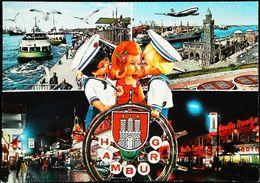 Carte Postale - Poupée Doll  Hamburg  Avion Bateau Marins - Poupées