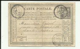 21 - Cote D'Or - Bèze  - Carte Précurseur Datée Du  07 Mars   1877 - Cachets  + Timbre - Francia