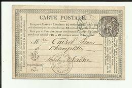 21 - Cote D'Or - Mirebeau Sur Bèze  - Carte Précurseur Datée Du  21 Mars   1877 - Cachets  + Timbre - Mirebeau