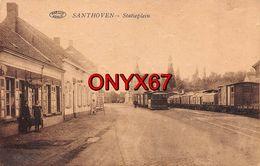 ZANDHOVEN-SANTHOVEN (Dorp) (Belgique-Belgïe-Anvers) Tramstatie-Statieplein-Tramway à Vapeur RARE 2 SCANS - Zandhoven