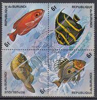 BURUNDI 1974 -  MiNr. 1050-1053 4er   Used - Fishes