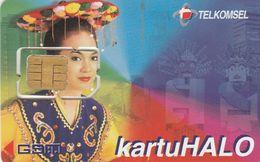 Indonesia, TLK-GSM-?, Telekomsel, Kartu Halo, GSM / SIM Card With Chip, 2 Scans. - Indonesia