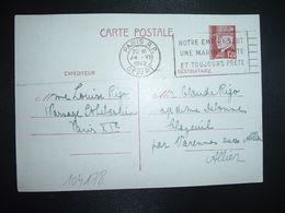 CP EP PETAIN 1F20 OBL.MEC.24 VI 1942 PARIS RP DEPART Louise RIGO à Claude RIGO CHAZEUIL ALLIER (03) - Marcophilie (Lettres)