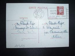 CP EP PETAIN 1F20 OBL.MEC.29 V 1942 PARIS RP DEPART QUINZAINE IMPERIALE Louise RIGO à Claude RIGO CHAZEUIL ALLIER (03) - Marcophilie (Lettres)