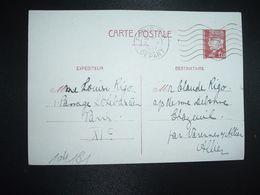CP EP PETAIN 1F20 OBL.MEC.9 V 1942 PARIS RP DEPART Louise RIGO à Claude RIGO CHAZEUIL ALLIER (03) - Marcophilie (Lettres)