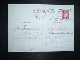 CP EP PETAIN 1F20 OBL.MEC.16 V 1942 PARIS RP DEPART Louise RIGO à Claude RIGO CHAZEUIL ALLIER (03) - Marcophilie (Lettres)