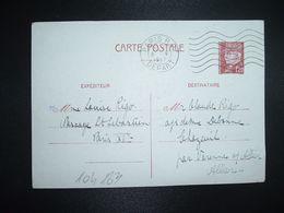 CP EP PETAIN 1F20 OBL.MEC.6 V 1942 PARIS RP DEPART Louise RIGO à Claude RIGO CHAZEUIL ALLIER (03) - Marcophilie (Lettres)