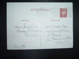 CP EP PETAIN 1F20 OBL.MEC.1 V 1942 PARIS RP DEPART Louise RIGO à Claude RIGO CHAZEUIL ALLIER (03) - Marcophilie (Lettres)