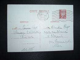 CP EP PETAIN 1F20 OBL.MEC.17 III 1942 PARIS RP DEPART Louise RIGO à Claude RIGO CHAZEUIL ALLIER (03) - Marcophilie (Lettres)