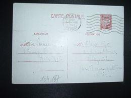 CP EP PETAIN 1F20 OBL.MEC.13 III 1942 PARIS RP DEPART Louise RIGO à Claude RIGO CHAZEUIL ALLIER (03) - Marcophilie (Lettres)